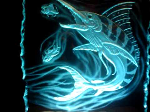 Carved Glass Sandblasted Devil Marlin Quot Chase Quot Led