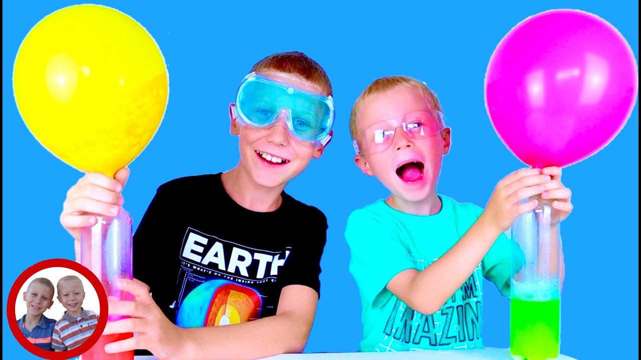 Balloon Experiment with baking soda and vinegar. Easy Science Experiment for kids with Mike and Jake