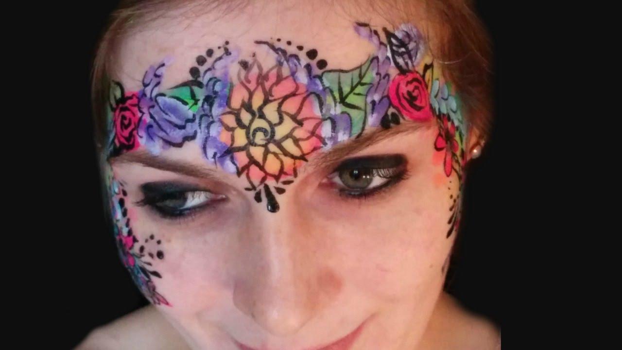 Neonuv Flower Garden Crown Face Paint Tutorial Youtube