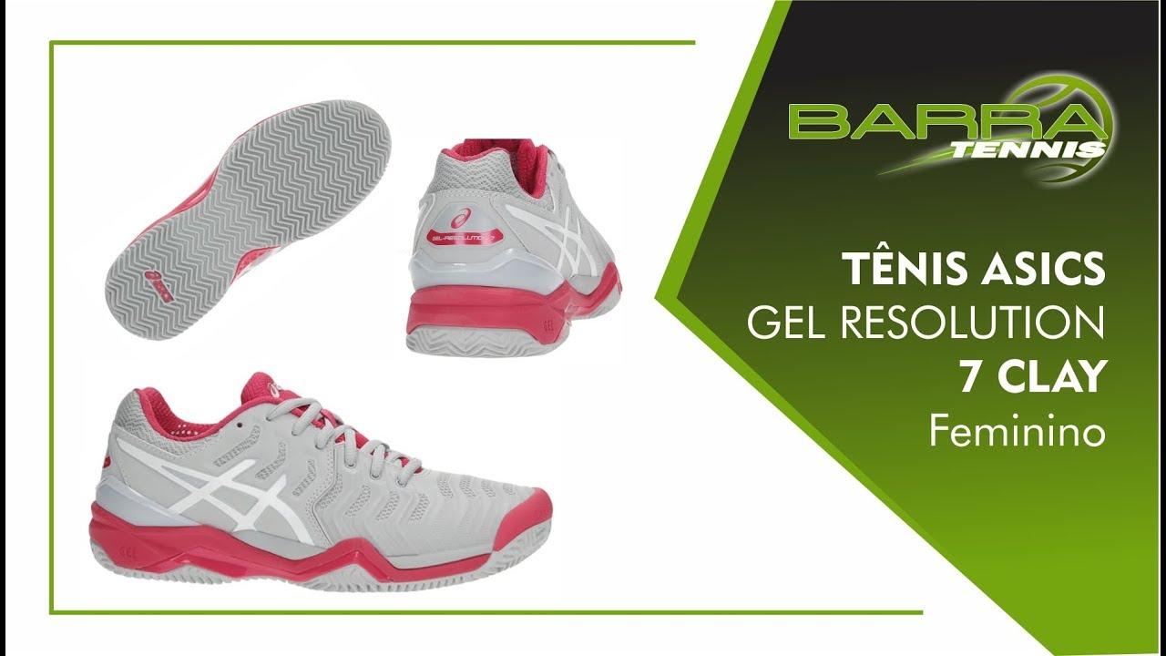 4e4dac23f8 Tênis Asics Gel Resolution 7 Clay Cinza e Rosa Barra Tennis - YouTube