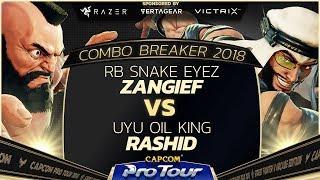 RB Snake Eyez (Zangief) vs UYU Oil King (Rashid) - Combo Breaker 2018 Pools - Day 1 - CPT 2018