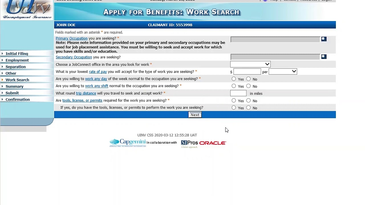 Step 2 How To Apply For Benefits For Nevada Unemployment Insurance Online Claim Filing Youtube