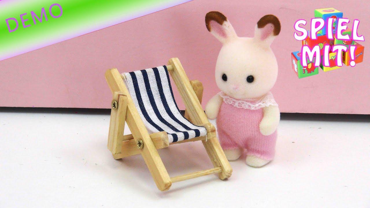 deko liegestuhl mini liegestuhl aus holz zb f r puppenhaus und sylvanian families youtube. Black Bedroom Furniture Sets. Home Design Ideas