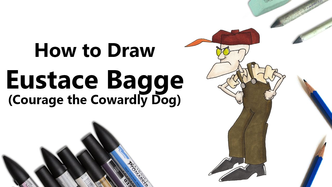 How to Draw and Color Eustace Bagge from Courage the Cowardly Dog