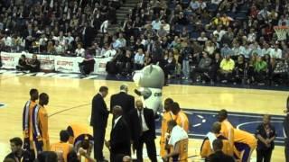Funny timberwolves mascot dance at the O2