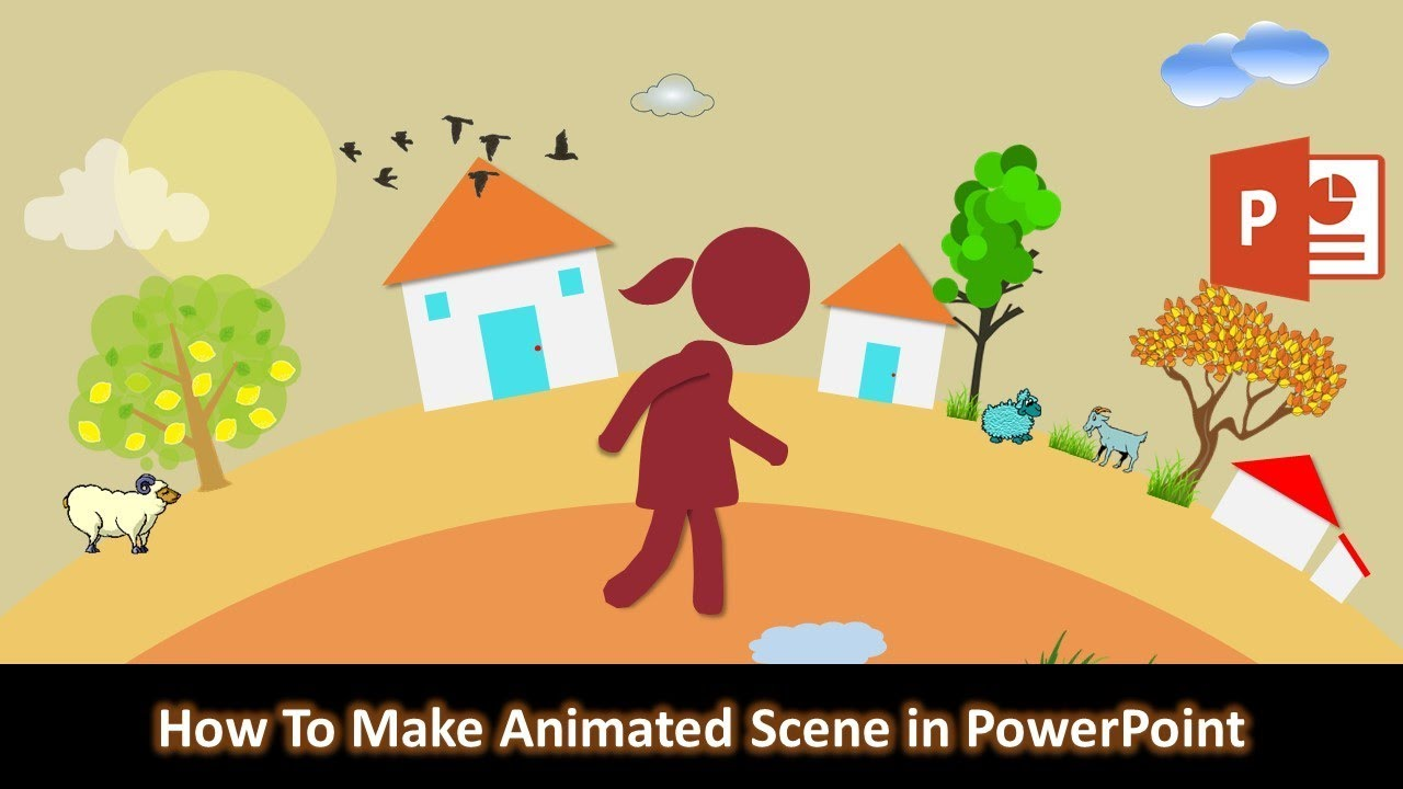 How to Make Animation Scene in Microsoft PowerPoint 2016 / 2019 Tutorial