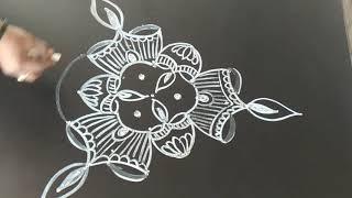 Simple deepam rangoli..festival kolam...deepam muggu..5 to 3 dots