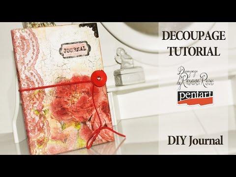 DIY journal - decoupage tutorial - diy notebook