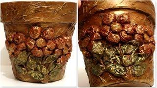 Flowerpot decoration with kitchen napkins | DIY flowerpot