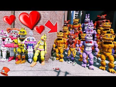 VALENTINES DAY ANIMATRONICS vs EVIL BUFF ANIMATRONIC ARMY! (GTA 5 Mods FNAF Kids RedHatter) thumbnail