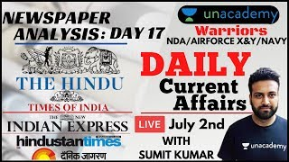 Daily Current Affairs: NewsPaper Analysis for Defence Exams | NDA/Airforce XY/Navy | Sumit Kumar