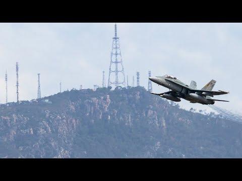 Ten RAAF F/A-18 Classic Hornets Taking Off...