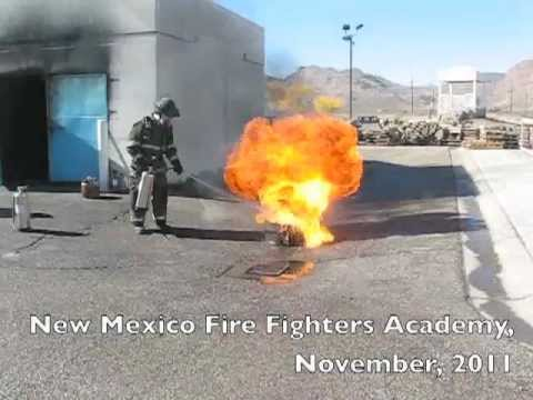 Class B fire extinguishment demo at the New Mexico Fire Fighters Academy