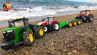 BRUDER RC TRACTORs on the beach. John DEERE, Steyr Traktor in ACTION!   Action video for kids