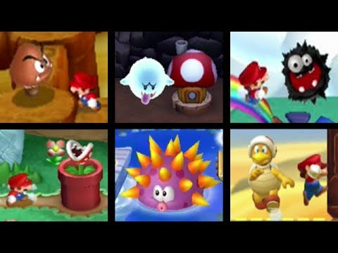 New Super Mario Bros Series All Enemy Courses 2009 2012 Youtube