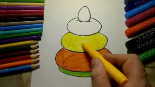 Coloring Pyramid Green Orange Yellow coloring pages for kids coloring rainbow a lot of surprises