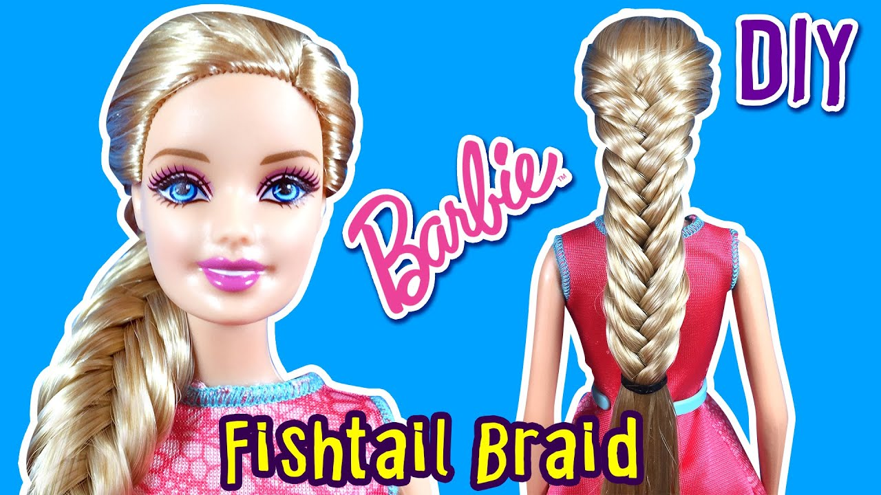 a130eb10eb How to Make Fishtail Braid for Barbie Doll - Barbie Hair Tutorial - Making  Kids Toys