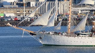 Chilean Naval Training Ship Esmeralda Departing Auckland New Zealand - 2019(Short)