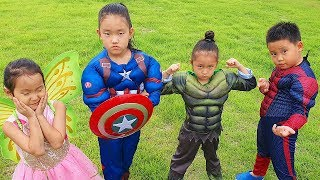 LoveStar becomes Avengers Heroes and save mother from fire | Children pretend play