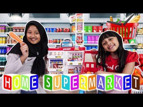 Mainan anak HOME SUPERMARKET || Bermain belanja, kasir-kasiran, supermarket jadi satu