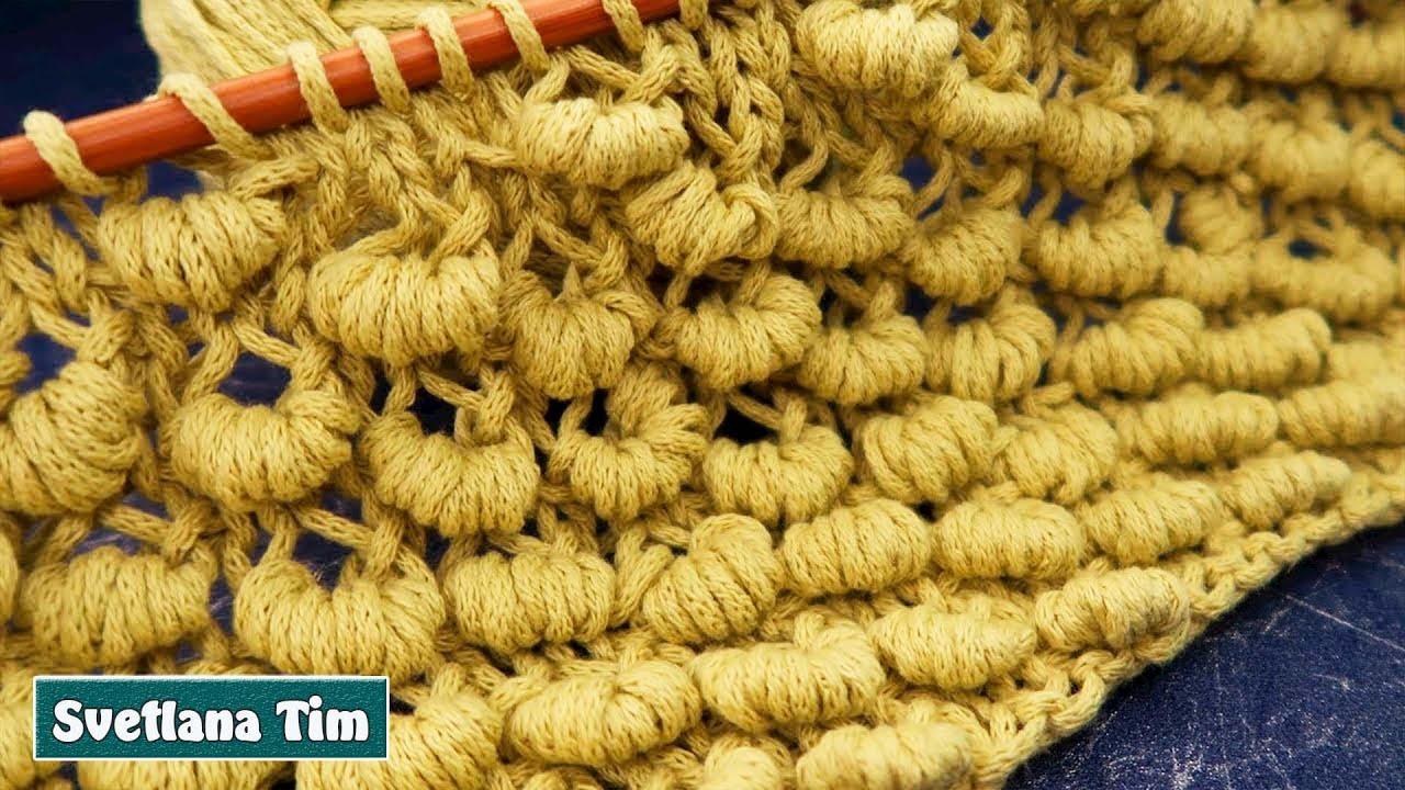 УЗОРЫ СПИЦАМИ. МК Узор «Гусенички» или «Пружинки» ВЯЗАНИЕ СПИЦАМИ / knitting patterns # 738