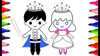 How to draw and Color Little king and Princess|Kids Coloring Book Learning Colours Fun Art