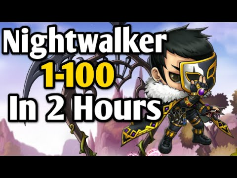 Maplestory: Nightwalker 1-100 in 2 Hours! Nightwalker 4th Job Skills and Review