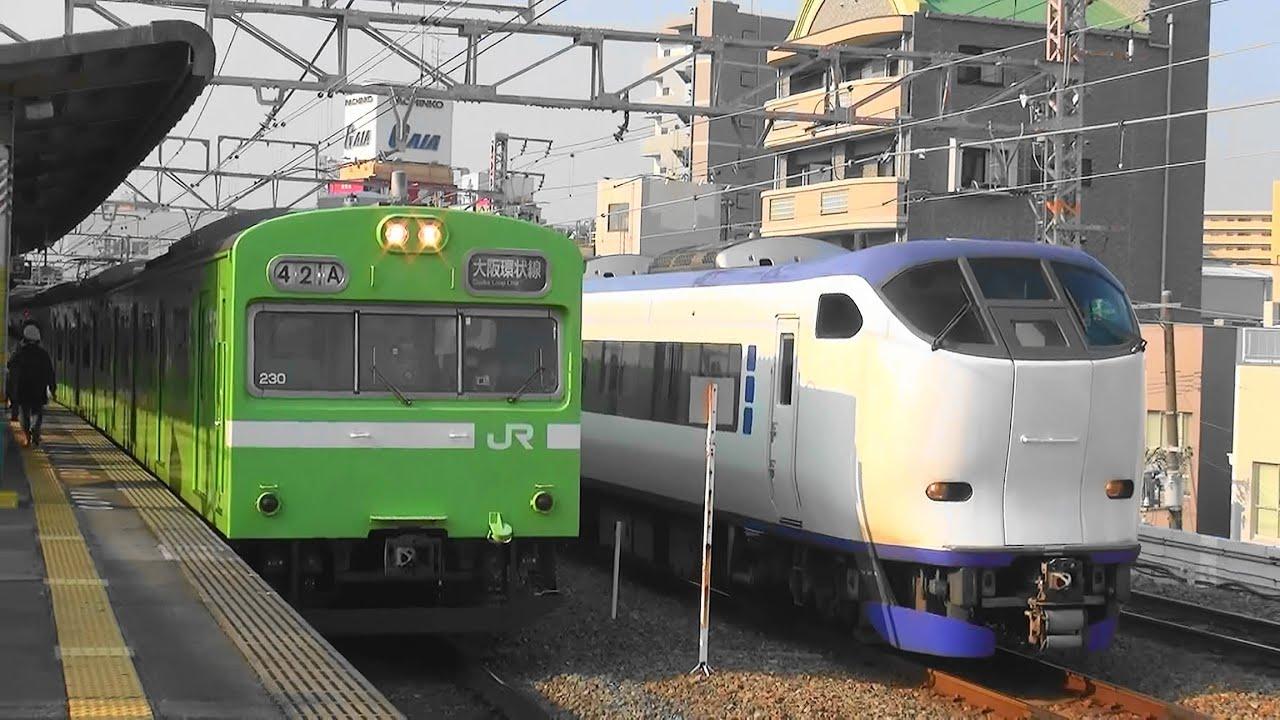 電車が次々とやってくるJR西日本大阪環狀線西九條駅の平日朝 ...