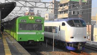 電車が次々とやってくるJR西日本大阪環状線西九条駅の平日朝通勤ラッシュ時間帯の光景 7時30分過ぎ~9時15分頃まで thumbnail