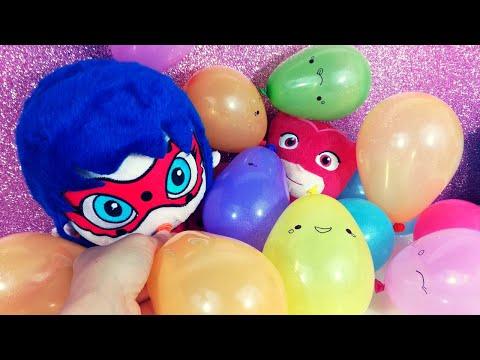 LADYBUG e GUFETTA dei PJ MASKS gonfiano e fanno scoppiare palloncini colorati con tante sorprese