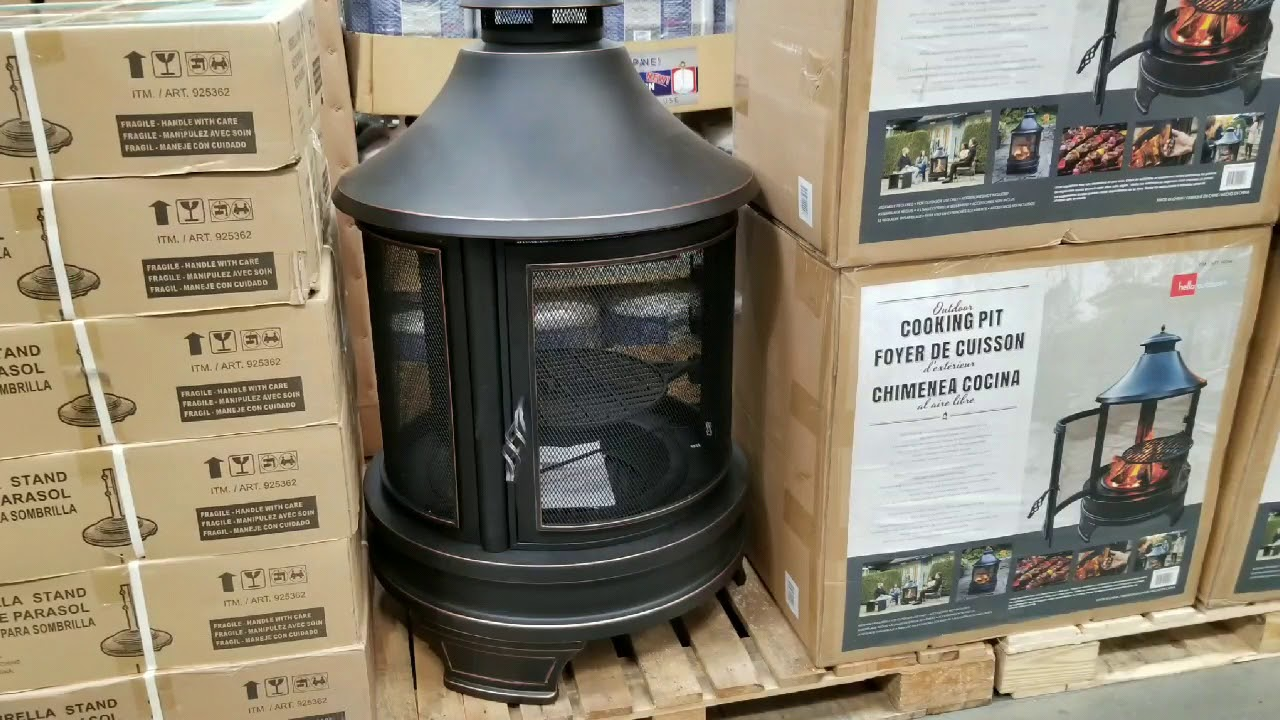 Costco! Outdoor Wood Burning Fire Pit with Cooking Grill ... on Costco Outdoor Fireplace id=66941