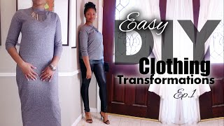 how to turn a dress to sweater with leather hem   easy clothes transformations ep 1   blueprint diy