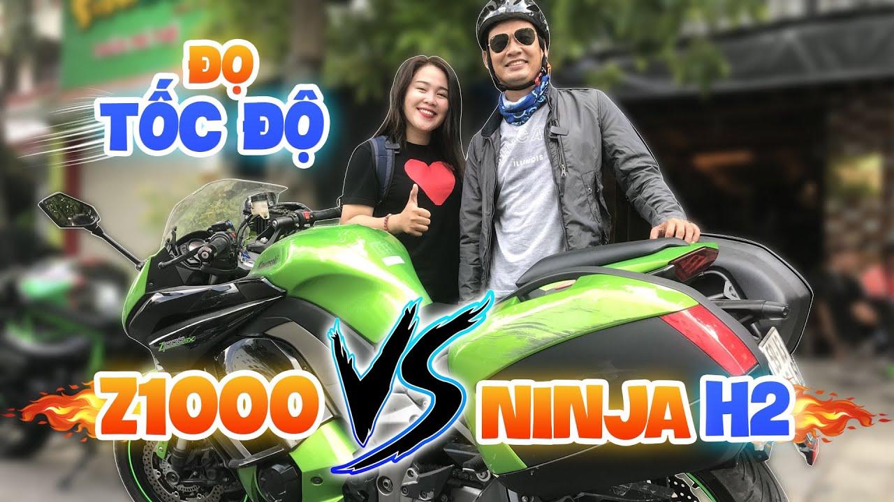 Nghệ Sĩ Tiết Cương chạy Kawasaki   Z1000 đọ tốc độ cùng nữ biker Vy Nguyễn chạy Ninja H2