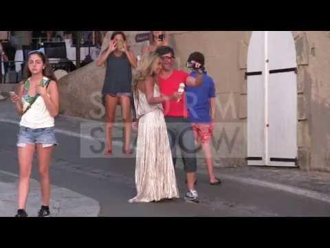 Sylvie Van Der Vaart having an ICE CREAM in Saint Tropez