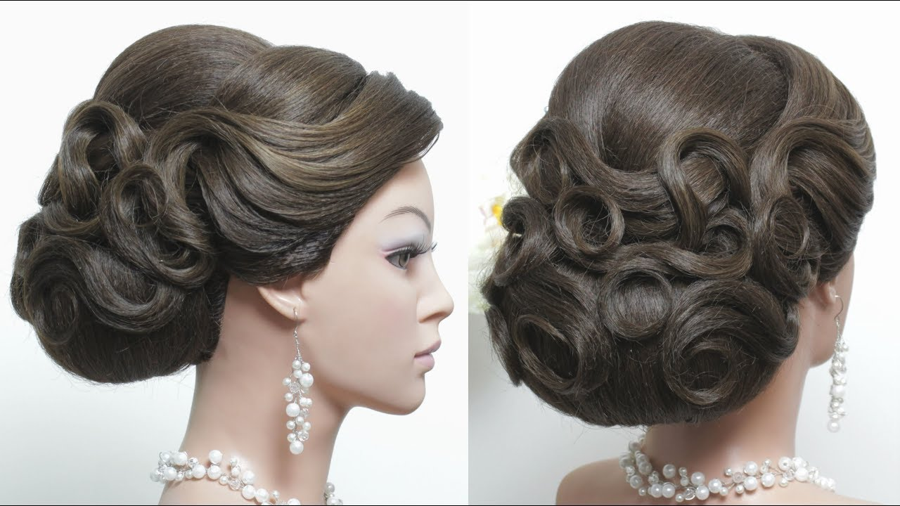 Bridal Bun Hairstyle With Waves And Puff For Long Hair