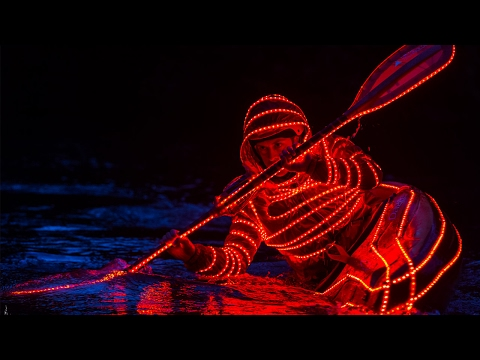 Kayaker Goes Down Waterfall With LED Lights