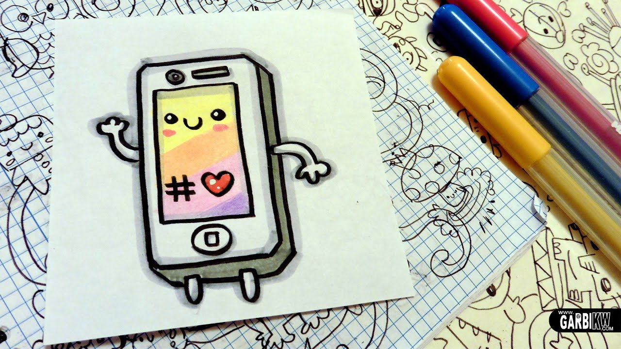 how to draw a cute iphone - easy and kawaii drawings by garbi kw