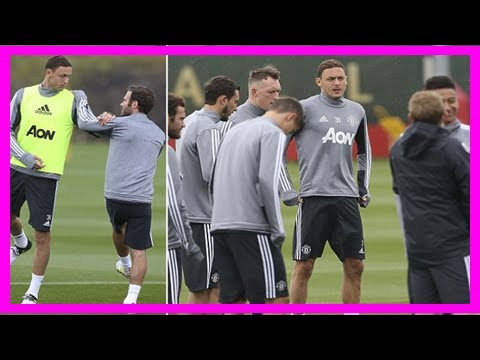 Manchester united new boy nemanja matic trains with his team-mates