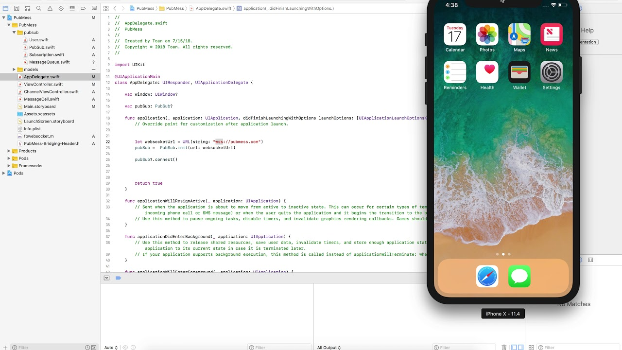 PubSub Implement in IOS Swift 4 & Live Demonstrate