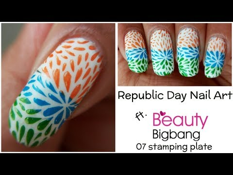 Republic Day Nails 2018 | BeautyBigBang 07 Stamping Plate Swatches & Review | The Polished Girl