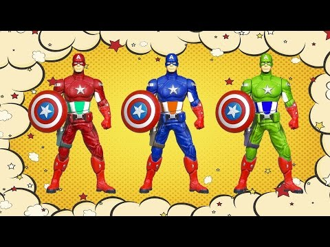 Learn Colors with Captain America cartoon - Colours for Kids Children Toddlers Baby Play Videos