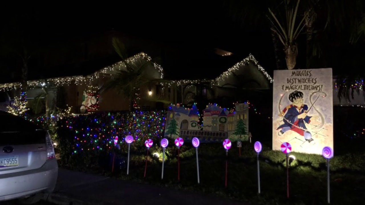 Christmas Decorations In Christmas Card Lane San Diego Youtube