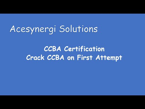 Business Analysis Training | Course CCBA®   Overview by Acesynergi Solutions