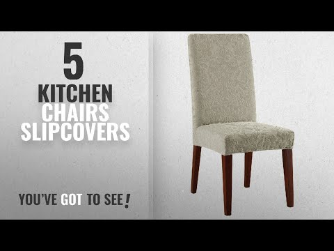 Top 10 Kitchen Chairs Slipcovers [2018]: Sure Fit Stretch Jacquard Damask - Shorty Dining Room Chair