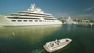 Drone footage of Dilbar mooring in the heart of Barcelona   OneOcean Port Vell