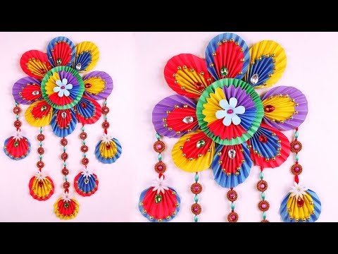 how-to-make-easy-wall-hanging-with-paper---diy-simple-home-decor-2018---paper-craft