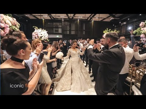 Glamorous wedding entry of bride and groom with Lebanese drums