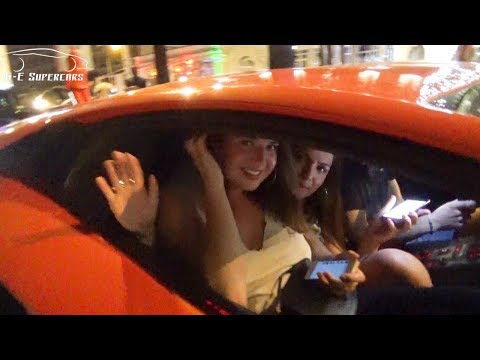 Lamborghini Aventador picks up 2 girls in Cannes !