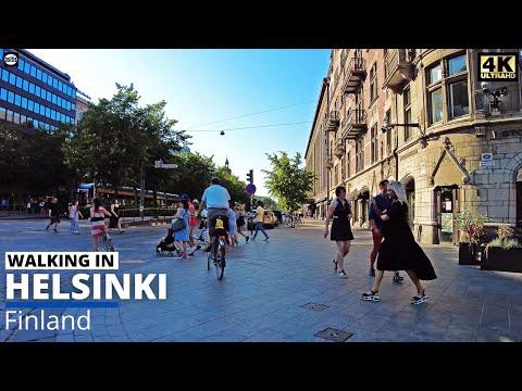 Hot Summer Evening Walk in Helsinki City Center - Mannerheimintie (16 July 2021)
