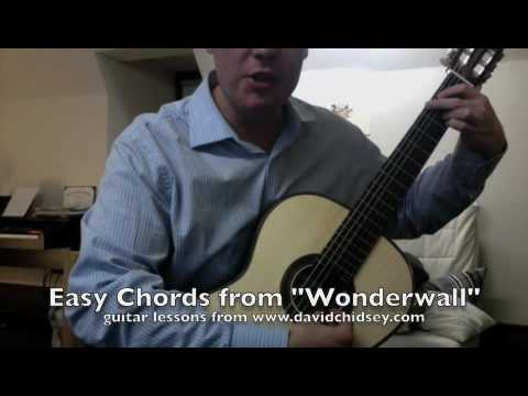 Wonderwall chords easy guitar lesson - YouTube
